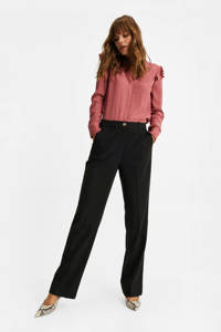 WE Fashion high waist straight fit pantalon zwart, Zwart