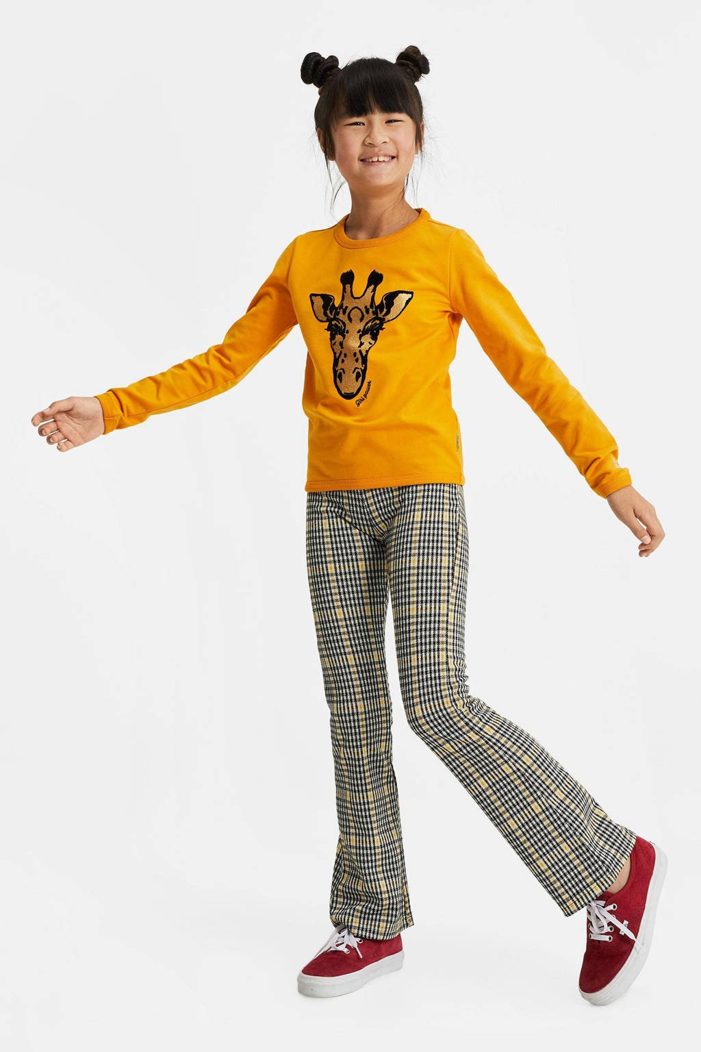 WE Fashion sweater met printopdruk en glitters geel/zwart/goud, Geel/zwart/goud