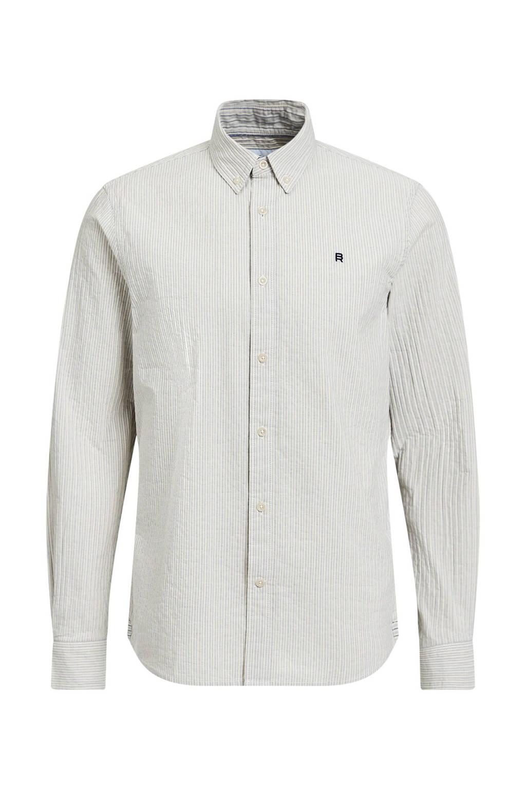 WE Fashion Blue Ridge gestreept slim fit overhemd wit, Wit