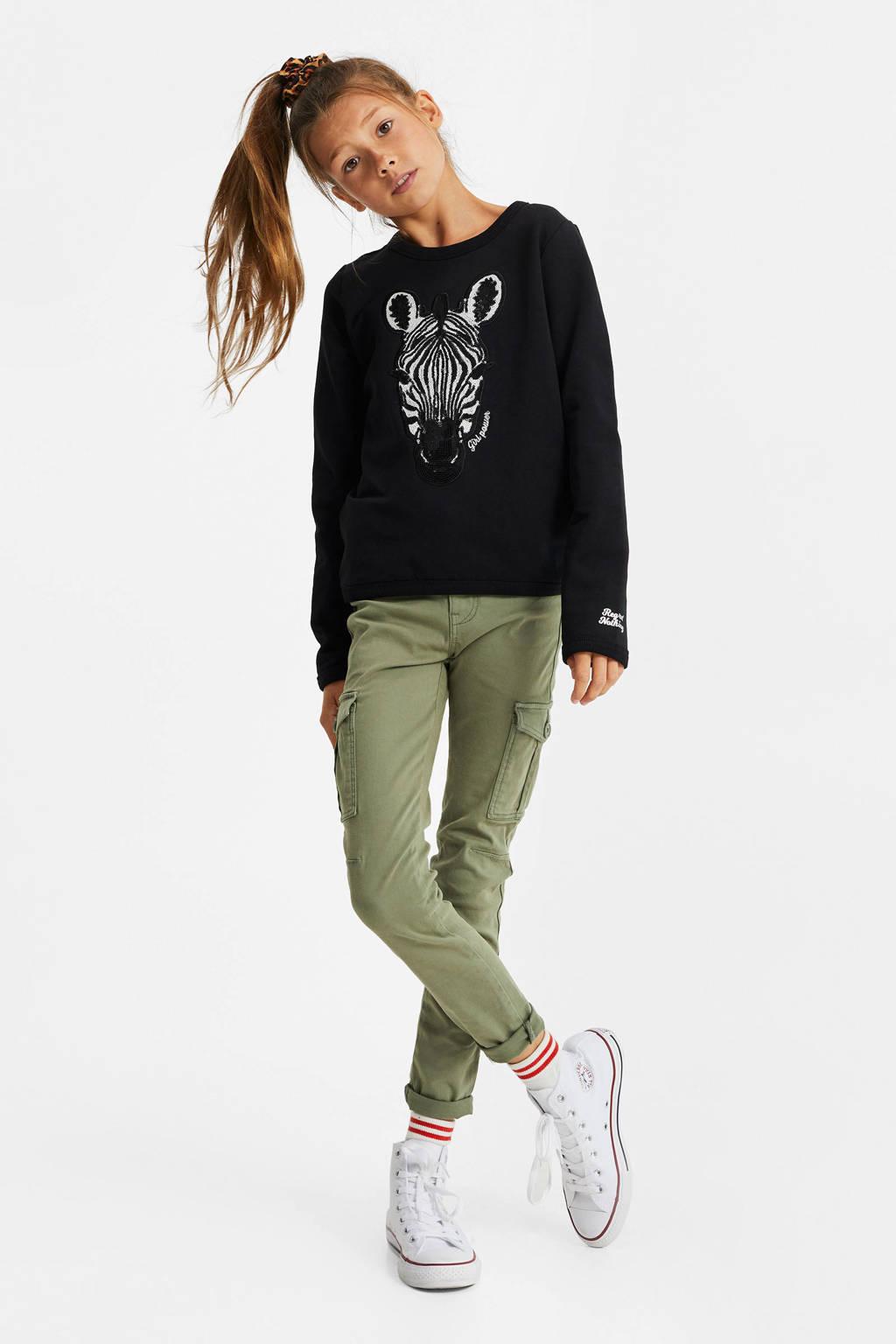 WE Fashion sweater met printopdruk en pailletten zwarti/wit, Zwarti/wit