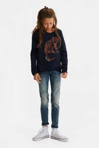 WE Fashion sweater met printopdruk en borduursels donkerblauw/bruin, Donkerblauw/bruin