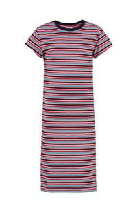 CKS KIDS gestreepte ribgebreide T-shirtjurk Isaly blauw/rood/roze, Blauw/rood/roze