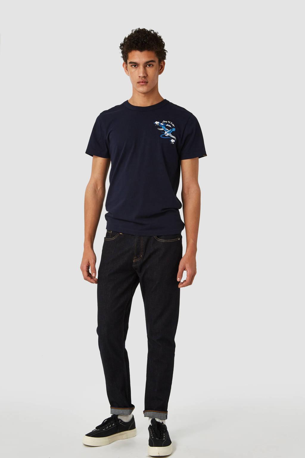 Kings of Indigo T-shirt met printopdruk donkerblauw, Donkerblauw