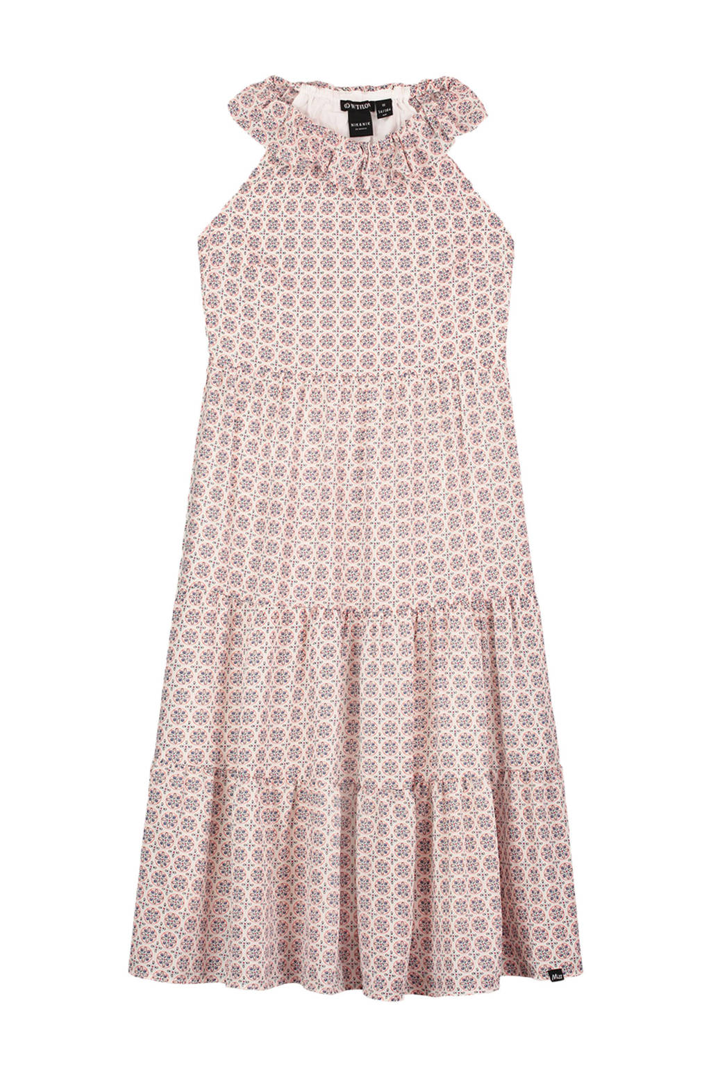 NIK&NIK jurk Dami met all over print en ruches offwhite/roze, Offwhite/roze