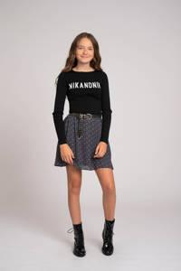 NIK&NIK longsleeve Aria met logo zwart/wit, Zwart/wit