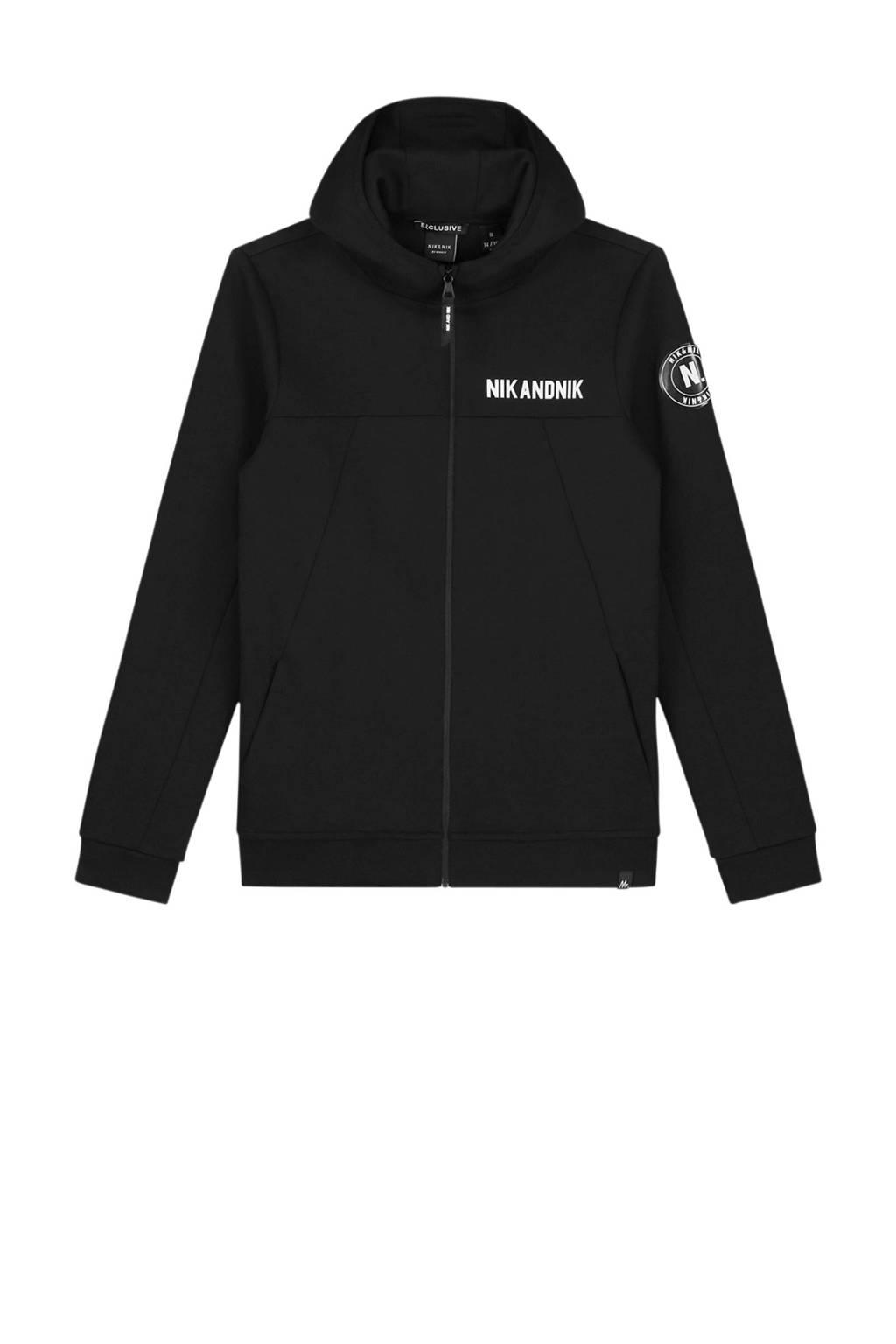 NIK&NIK vest Mark met logo zwart, Zwart