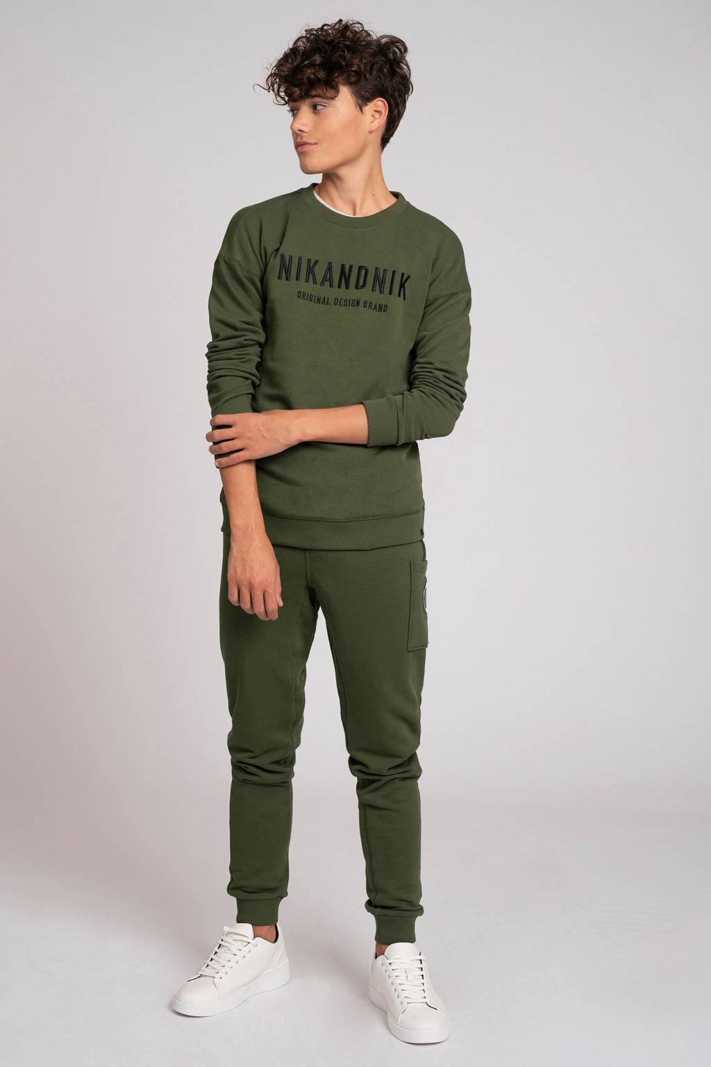NIK&NIK sweater Milo met logo mosgroen, Mosgroen