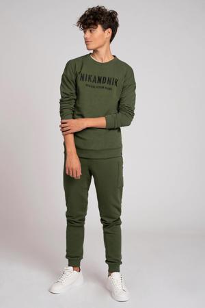 sweater Milo met logo mosgroen