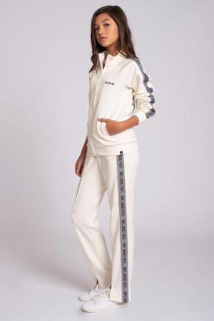 straight fit broek Fran met zijstreep ecru