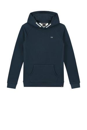 hoodie Percy met tekst donkerblauw/wit