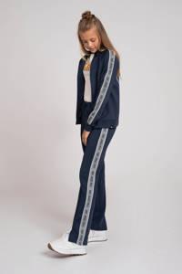 NIK&NIK straight fit broek Fran met zijstreep donkerblauw, Donkerblauw