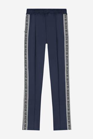 straight fit broek Fran met zijstreep donkerblauw