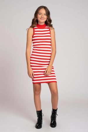 gestreepte jurk Gwen rood/offwhite