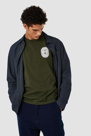 T-shirt met printopdruk olijfgroen