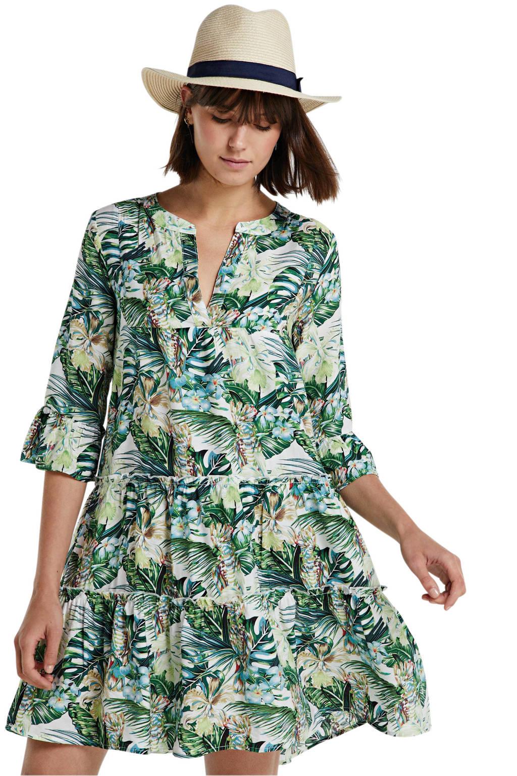 Smashed Lemon jurk met all over print en volant groen/wit, Groen/wit