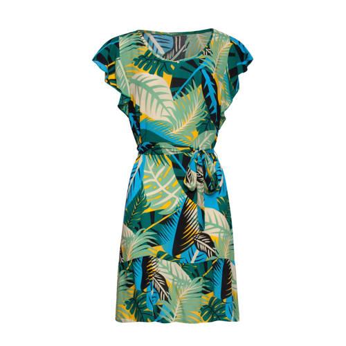 Smashed Lemon jurk met bladprint en ruches groen blauw geel