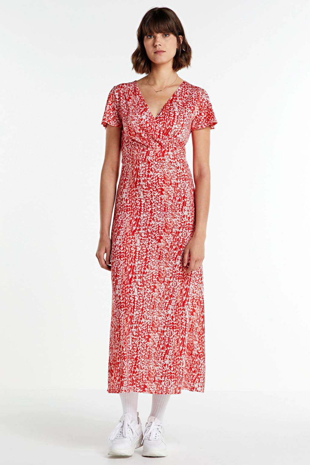 Smashed Lemon maxi jurk met all over print en ceintuur rood/wit, Rood/wit