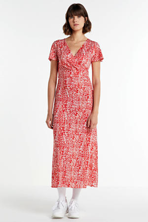 maxi jurk met all over print en ceintuur rood/wit