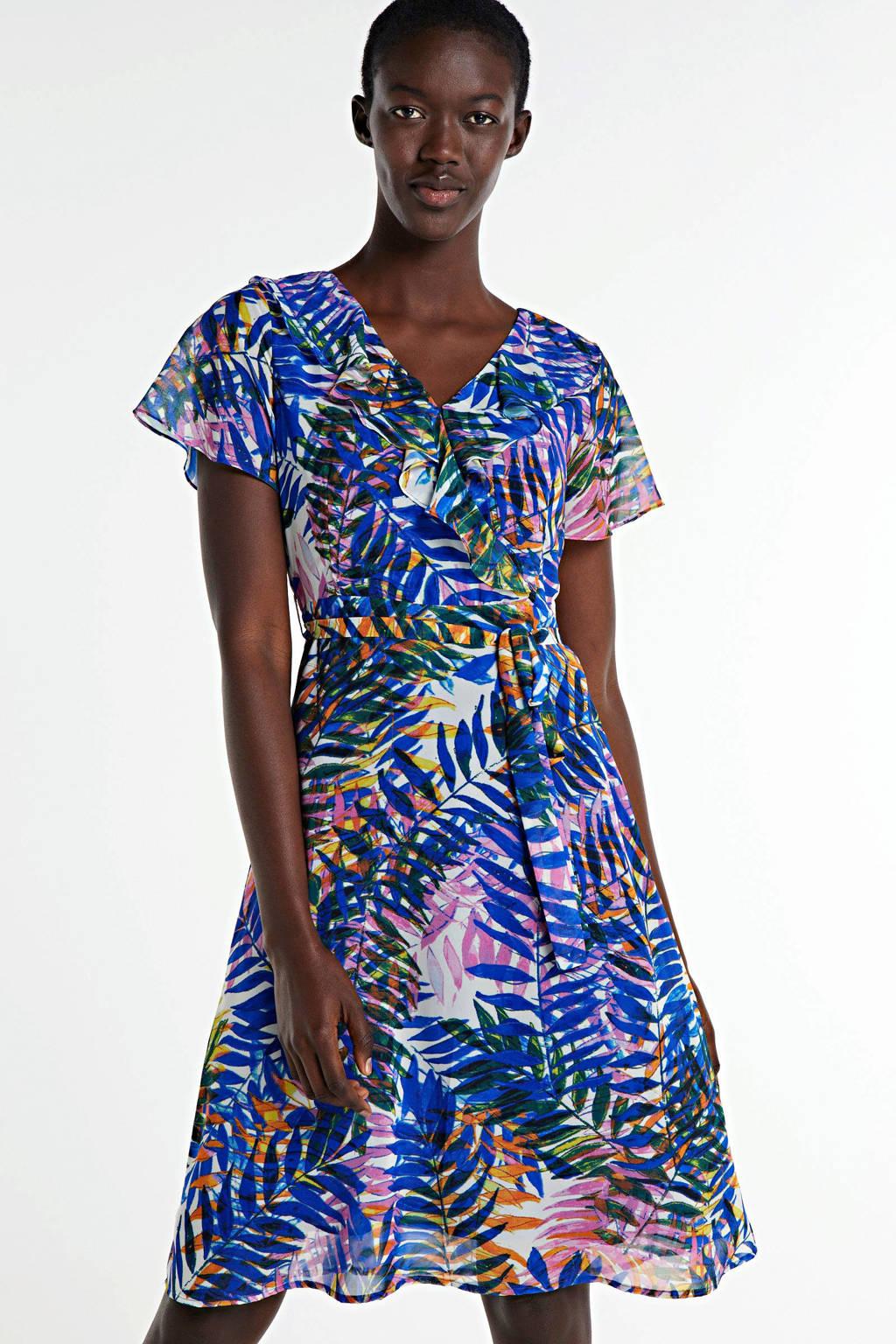 Smashed Lemon A-lijn jurk met all over print en ruches blauw/multi, Blauw/multi