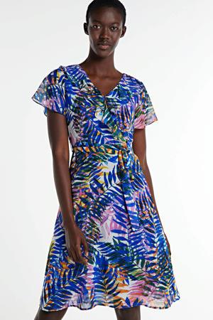 A-lijn jurk met all over print en ruches blauw/multi