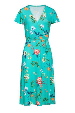 gebloemde jurk turquoise/multi