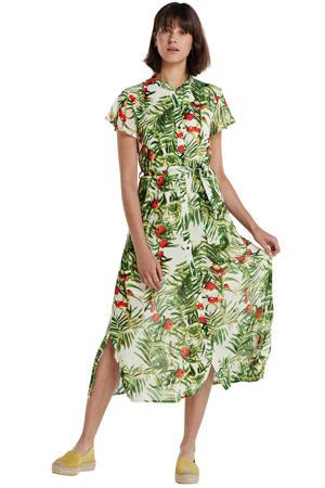 blousejurk met bladprint en ceintuur groen/wit/rood