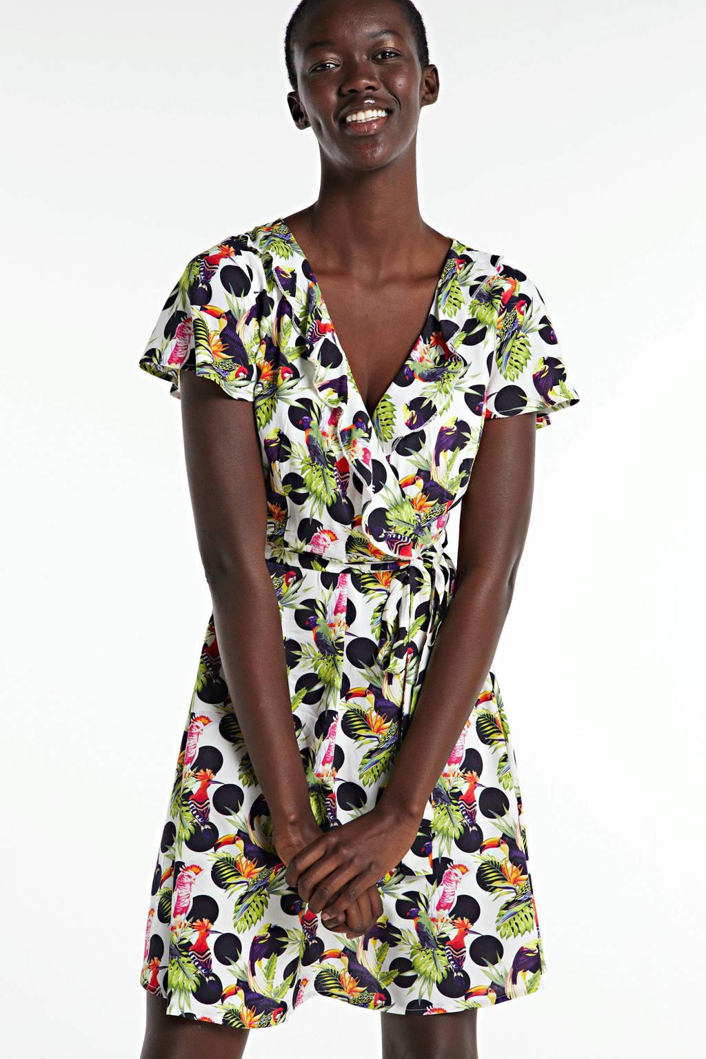 Smashed Lemon A-lijn jurk met all over print en volant zwart/multi, Zwart/multi