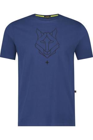 T-shirt met printopdruk kobaltblauw