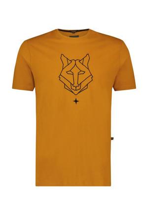 T-shirt met printopdruk oker
