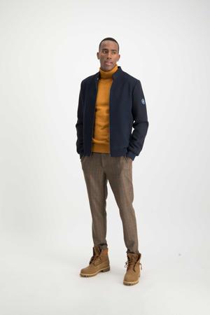 geruite slim fit pantalon bruin