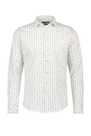 slim fit overhemd met all over print ecru/blauw/rood
