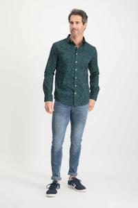 Haze & Finn slim fit overhemd met all over print donkerblauw/groen, Donkerblauw/groen