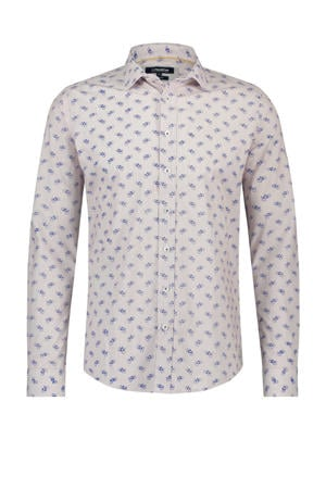 slim fit overhemd met all over print lichtroze