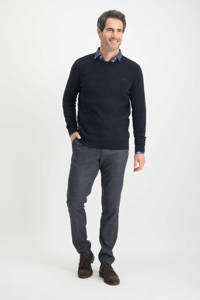 Haze & Finn trui met textuur donkerblauw, Donkerblauw