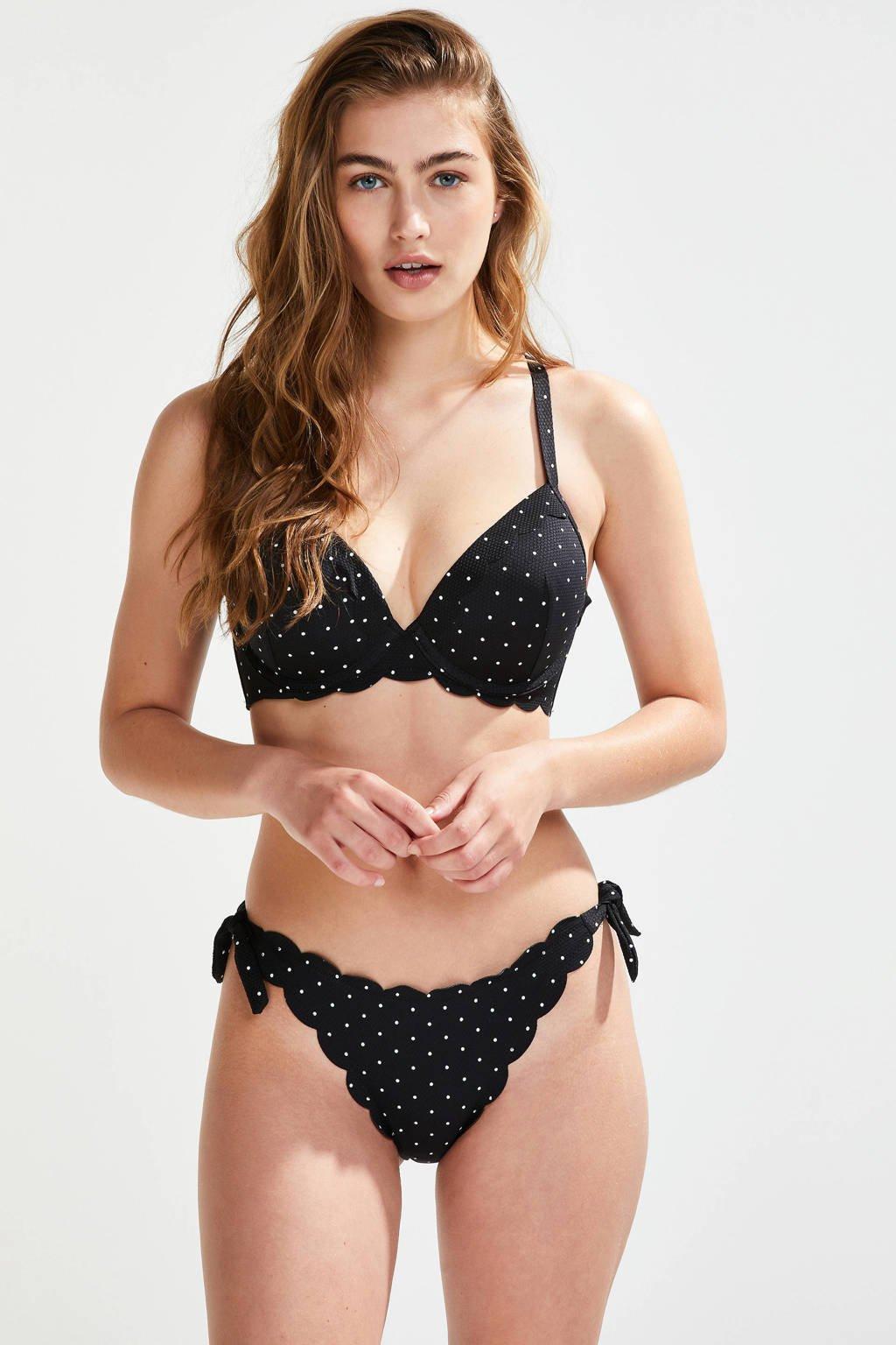 Hunkemöller beugel bikinitop Scallop Dot met schulprand zwart/wit, Zwart/wit