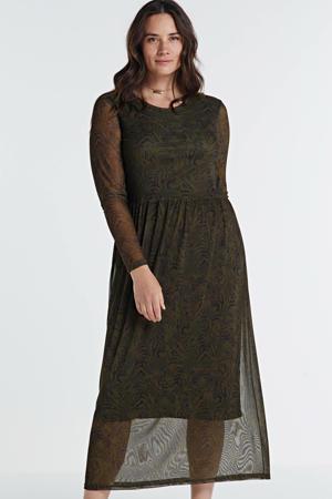 semi-transparante maxi jurk met all over print en plooien donkergroen