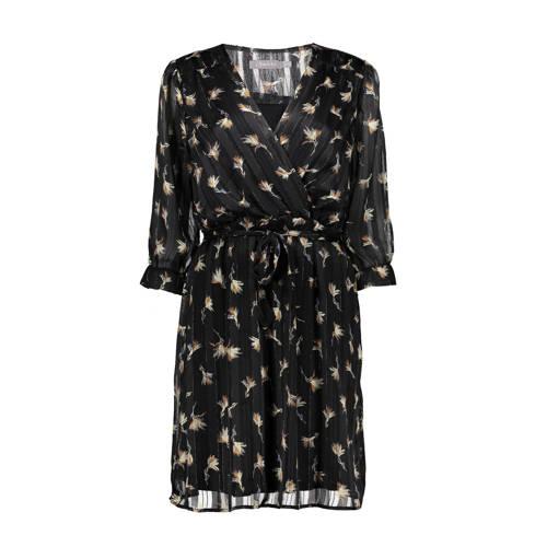 Geisha semi transparante jurk met all over print en glitters zwart goud