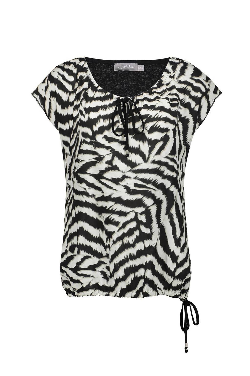 Geisha T-shirt met zebraprint zwart/wit/zand, Zwart/wit/zand