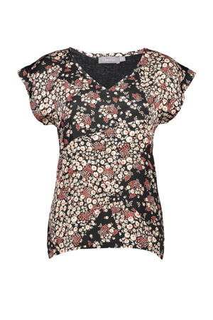 gebloemd T-shirt zwart/rood/ecru