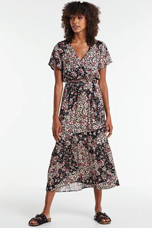 jersey jurk met all over print en ceintuur zwart/rood