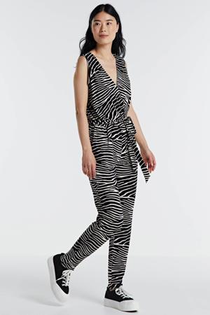jumpsuit met zebraprint zwart/ecru