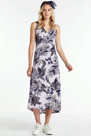 jersey jurk met bladprint wit/multi