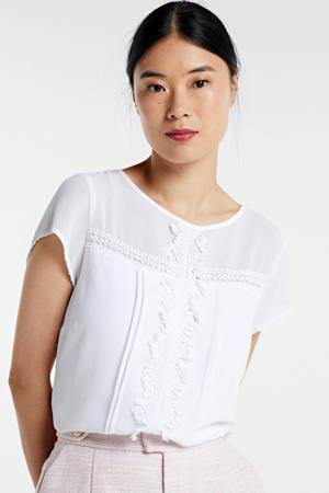 semi-transparante top met kant wit