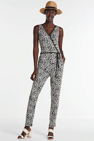 jumpsuit met bladprint zwart/wit