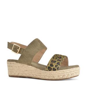 plateau sandalen groen/panterprint