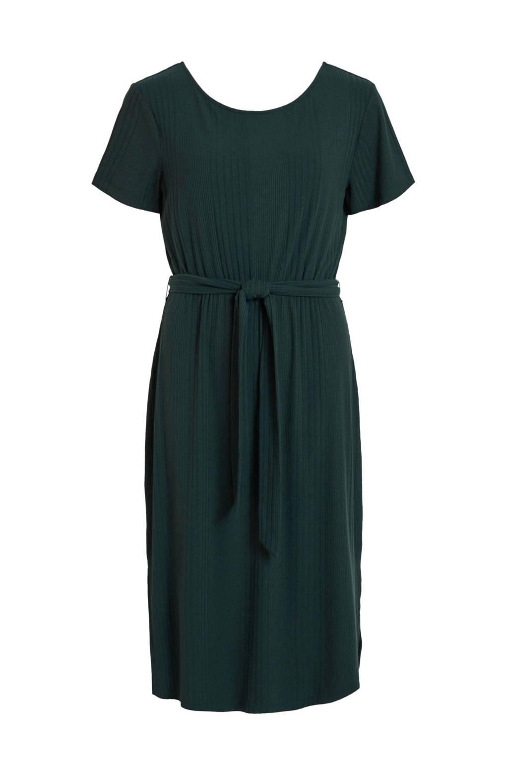 OBJECT jurk met ceintuur groen, Groen