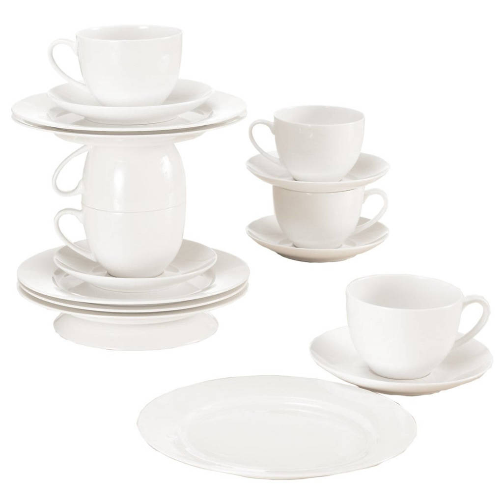 Maxwell & Williams koffie/theeset Cashmere Villa (set van 18), Wit