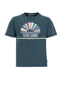 America Today Junior T-shirt Eliza met printopdruk blauw, Blauw