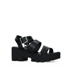 leren plateau sandalen zwart