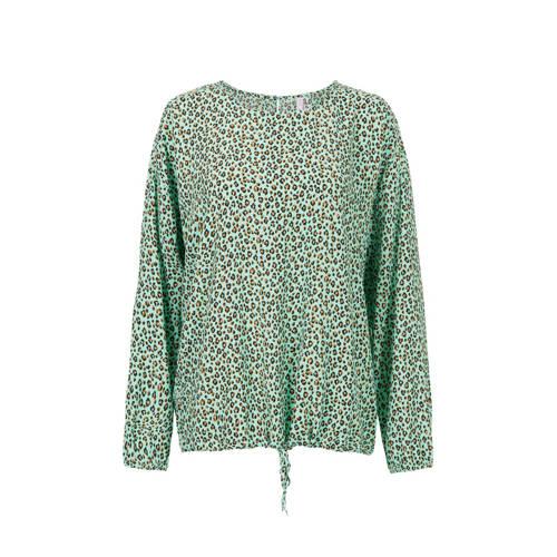 Miss Etam Lang top met panterprint groen